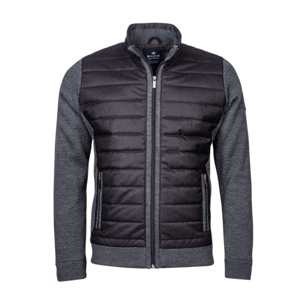 Baileys Charcoal zip front hybrid quilt cardigan