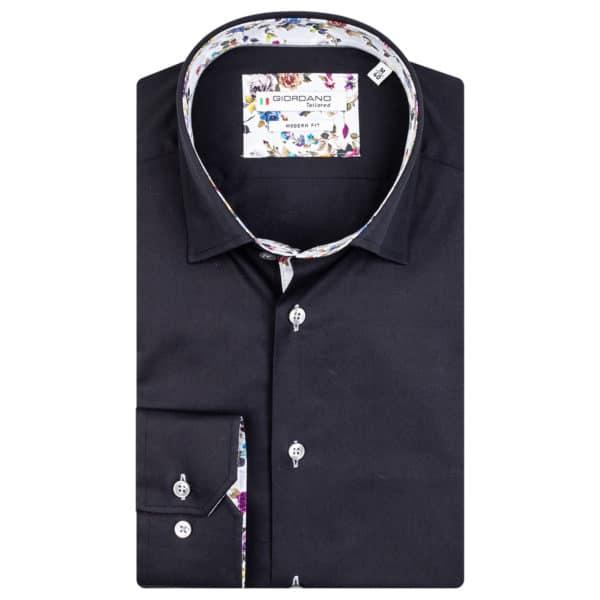 Giordano Brighton LS Under Modern Fit black shirt