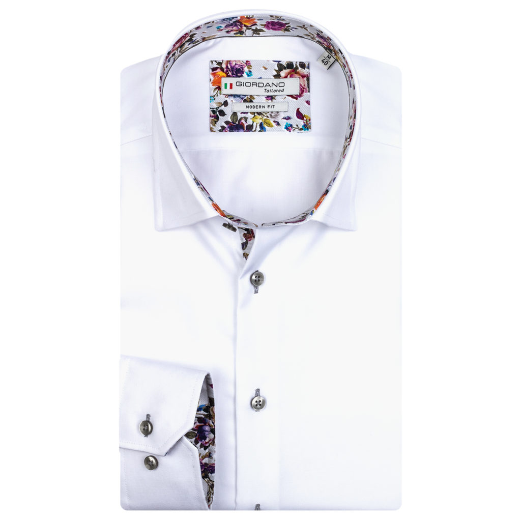 Giordano Brighton LS Under Modern Fit white shirt
