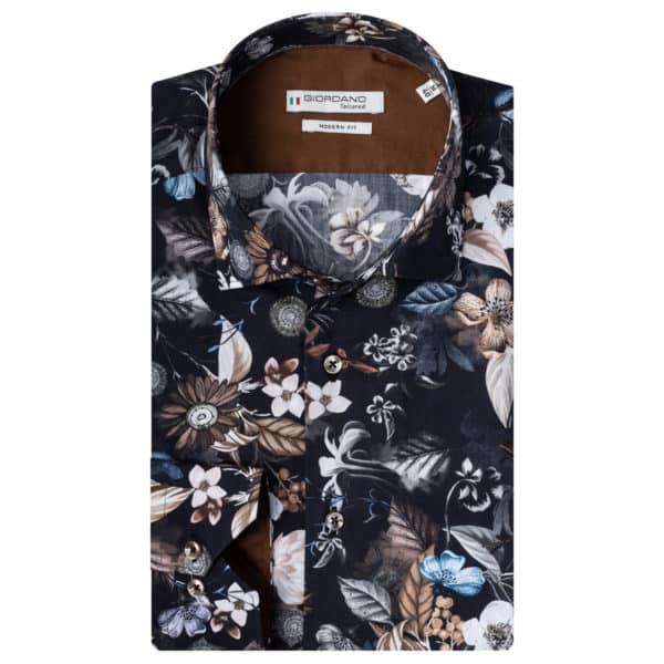 Giordano shirt Maggiore LS Cutaway navy flower pattern