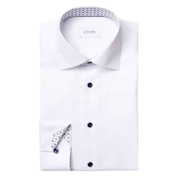 ETON white twill shirt with medaillon collar