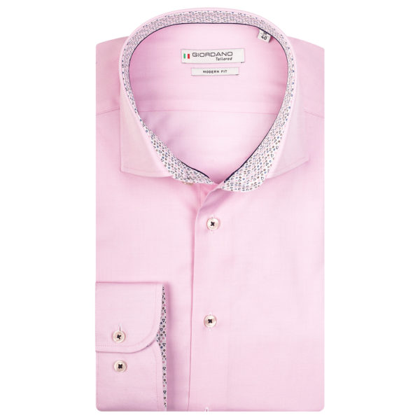 LS seaton shirt by giordano pink