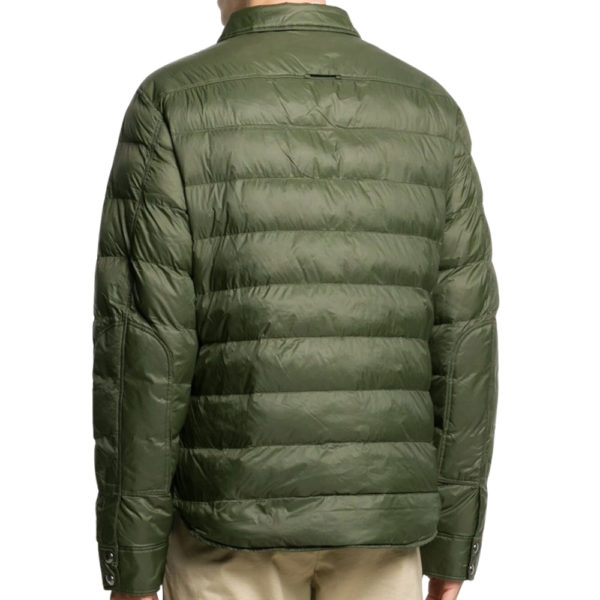 Weather resistant shell with soft down padding alongside back