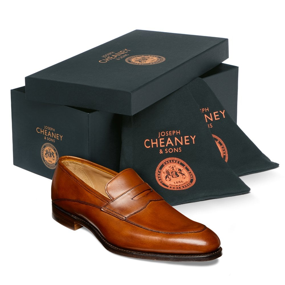 cheaney lewisham penny loafer in dark leaf calf leather p847 5825 image