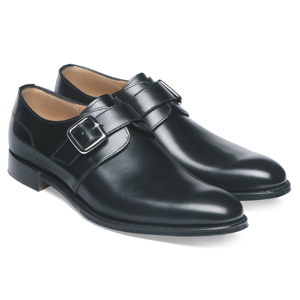 cheaney moorgate plain buckle monk shoe in black calf leather p36 1282 image