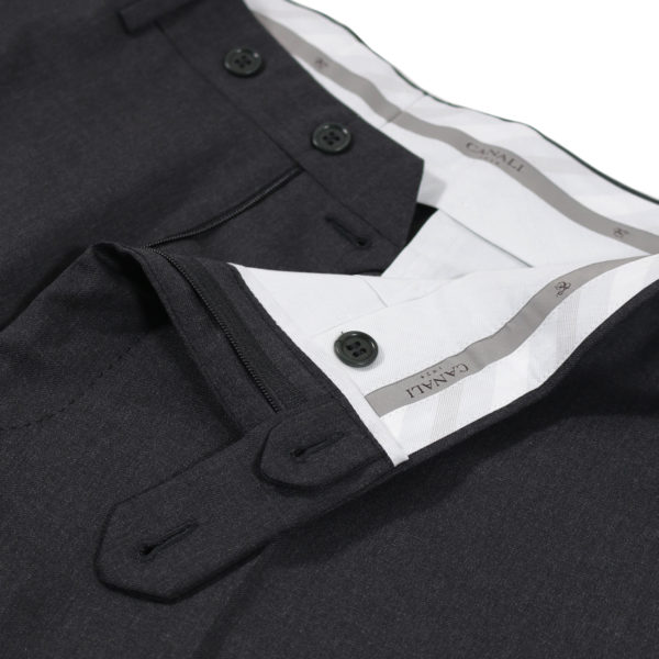 CANALI FORMAL WOOL TROUSERS IN CHARCOAL detail
