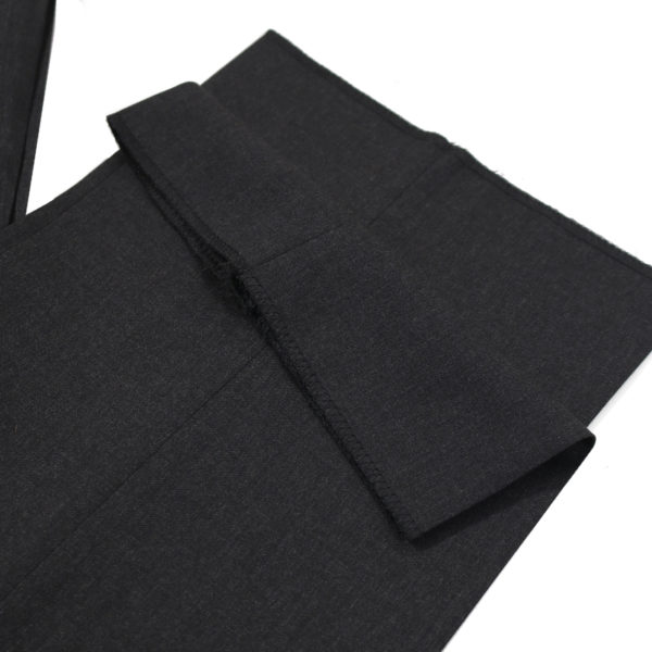 CANALI FORMAL WOOL TROUSERS IN CHARCOAL hem