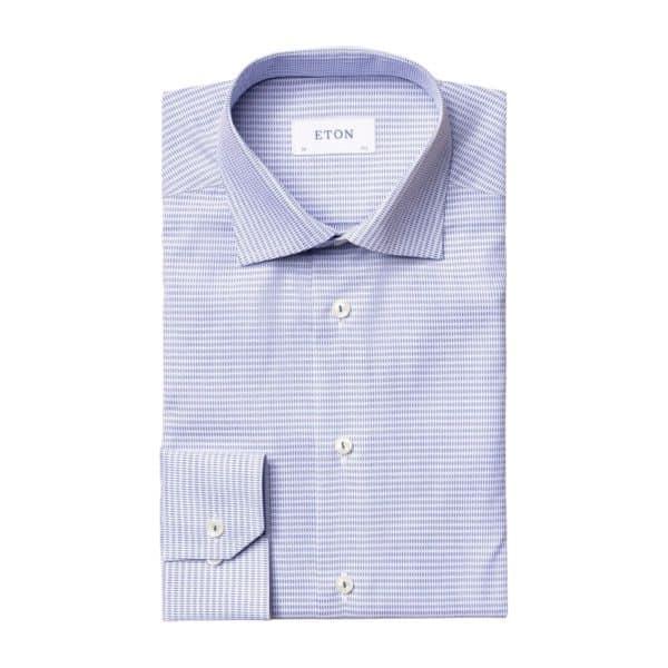 Eton shirt Blue micro woven dobby 1
