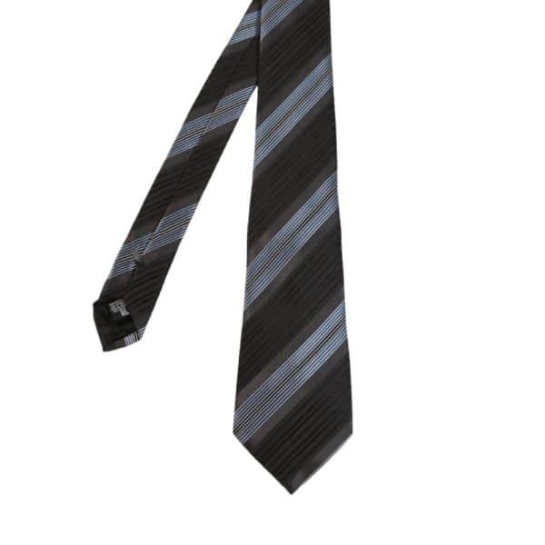 Giorgio Armani tie stripe black blue