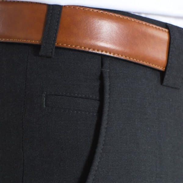 Meyer Roma Charcoal Wool Chinos pocket