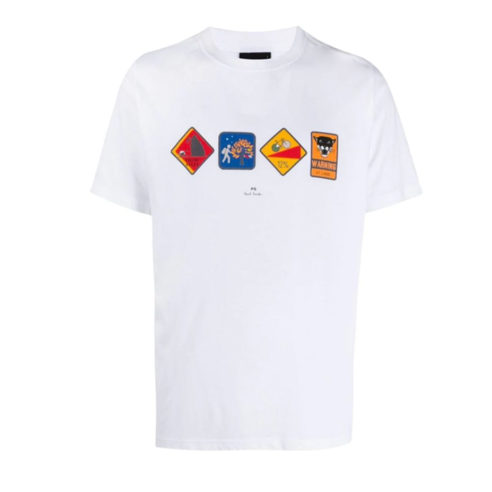 Paul Smith Mens White Warning Print Organic Cotton T Shirt 3