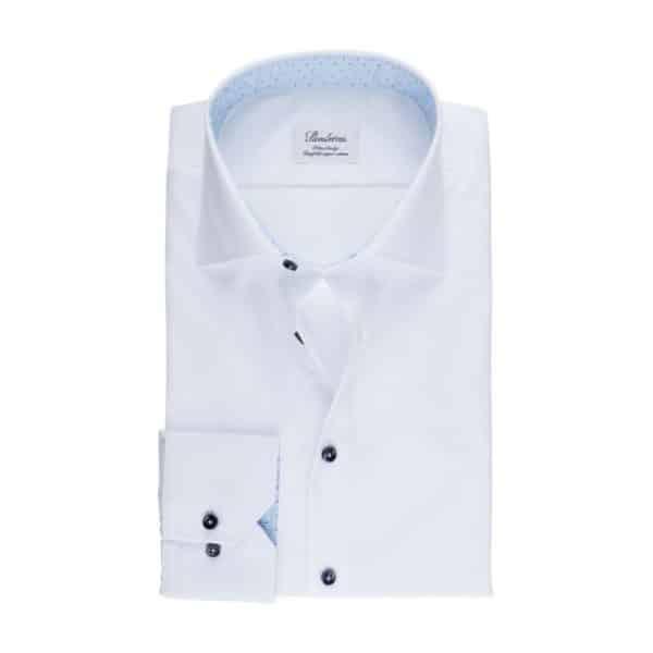 Stenstroms White shirt blue collar front