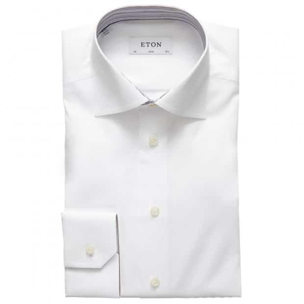 eton striped detail shirt in white 1