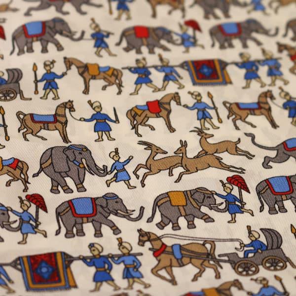 Amanda Christensen pocket square Indian elefant white fabric