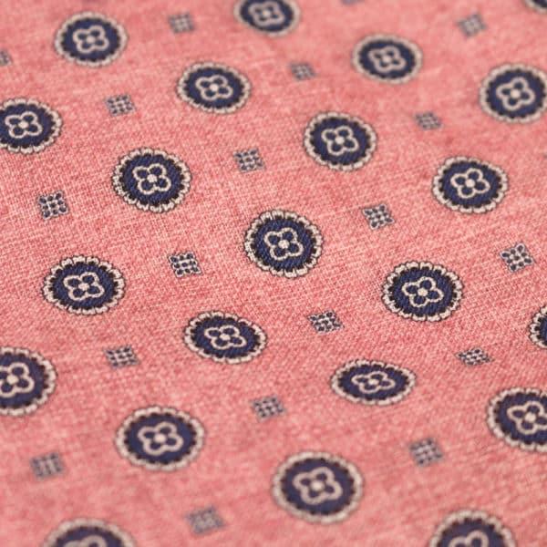 Amanda Christensen pocket square flower circle pink fabric
