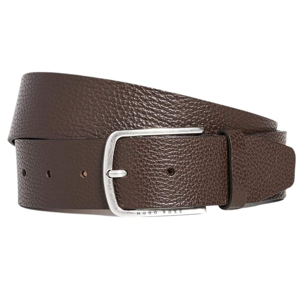 BOSS Sander Grain leather belt brown 1
