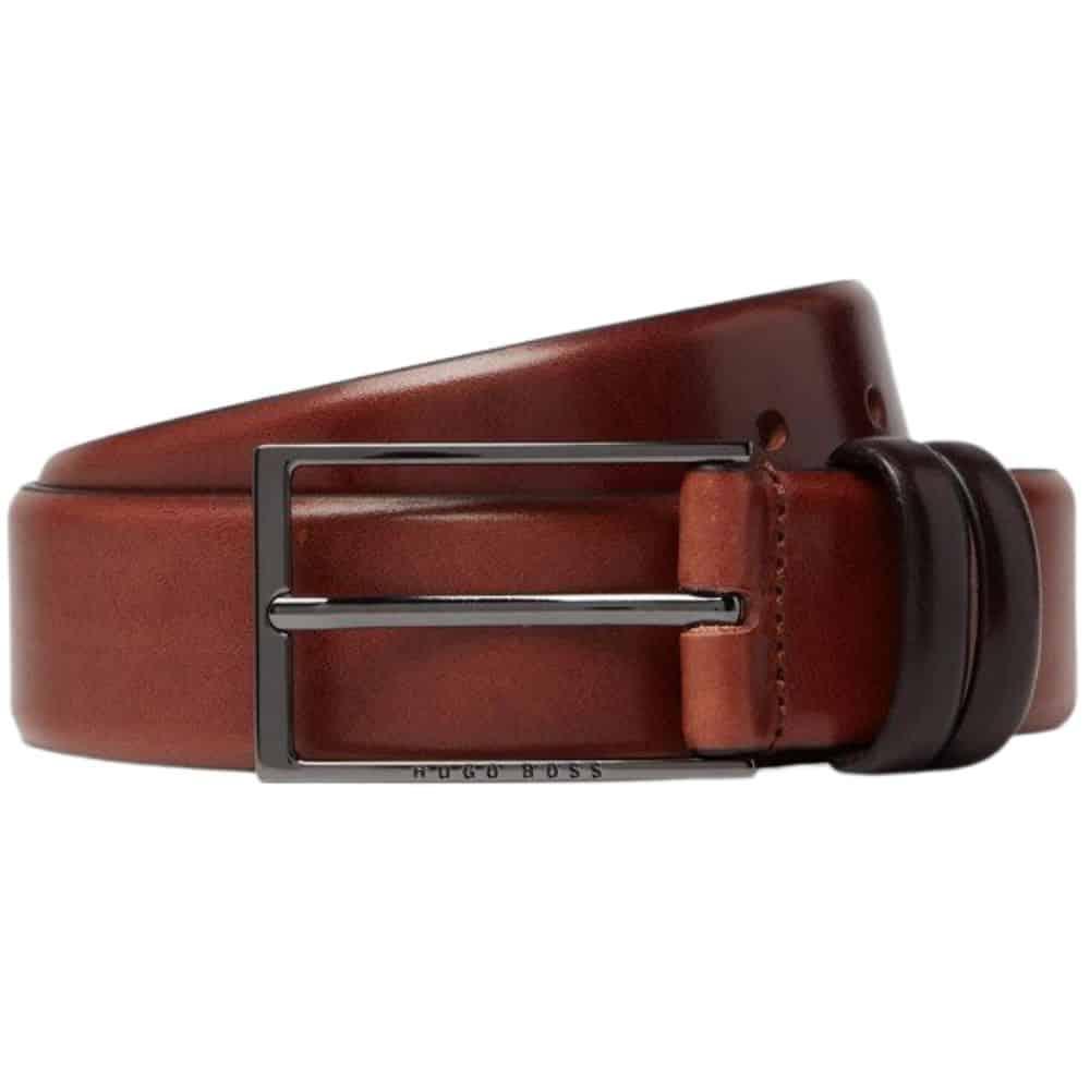 Boss Carmello leather belt tan