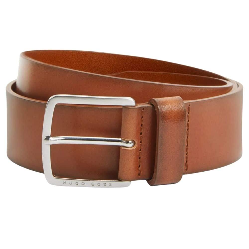 Boss Sjeeko Leather Belt Tan