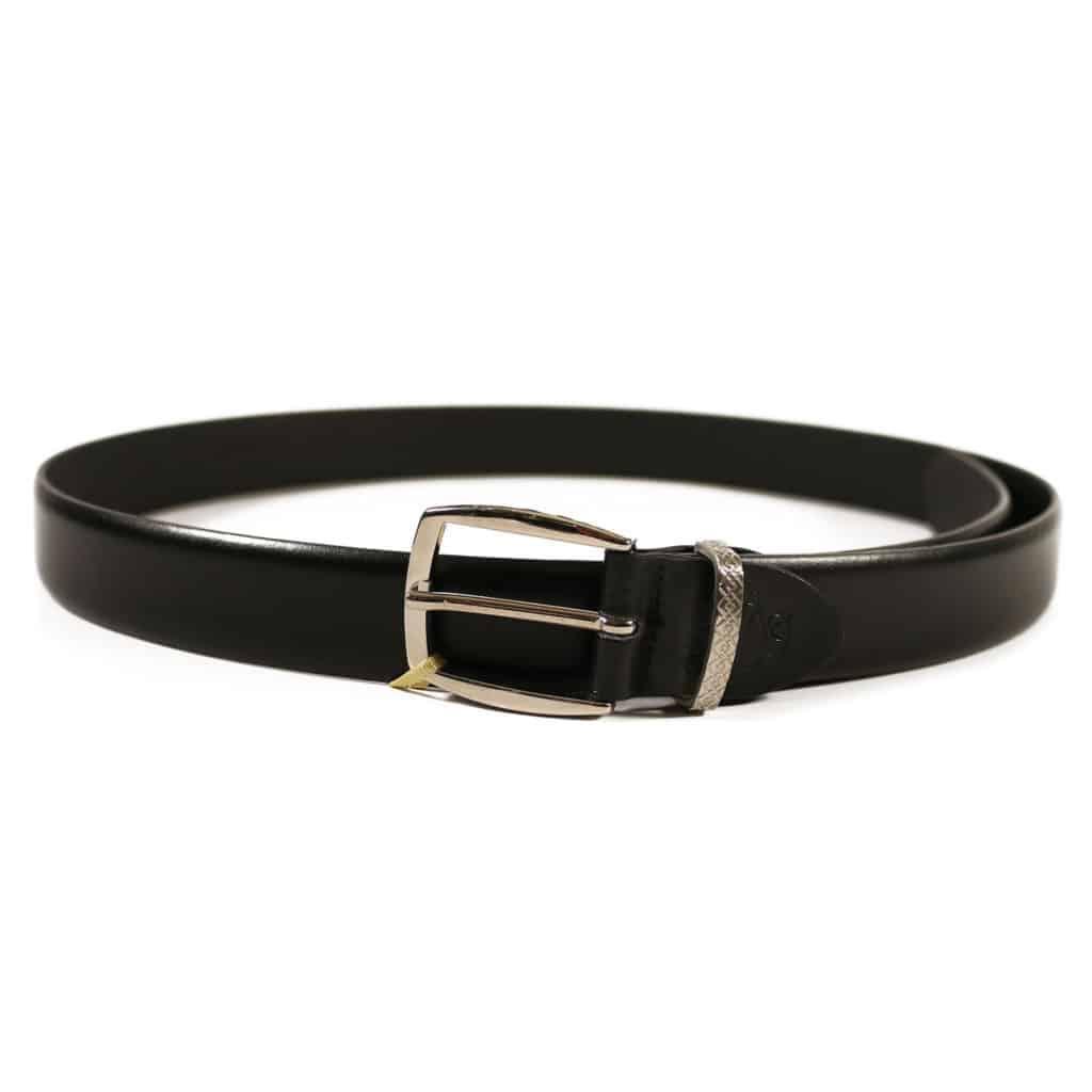 Canali black leather belt2