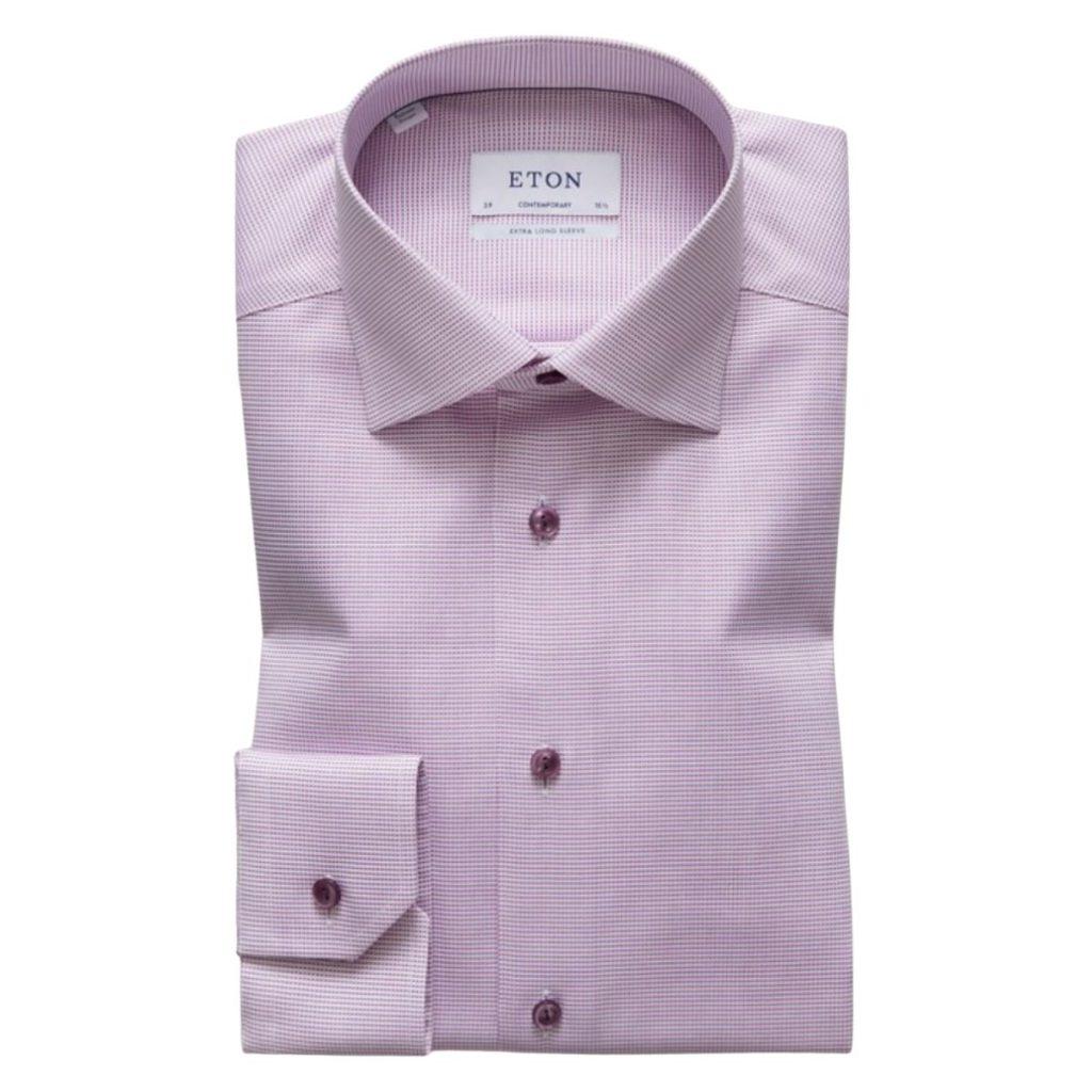 Eton Shirt pink and white twill