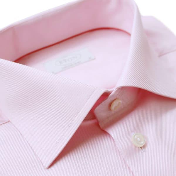 Eton Shirt structured textured diagonal twill pink
