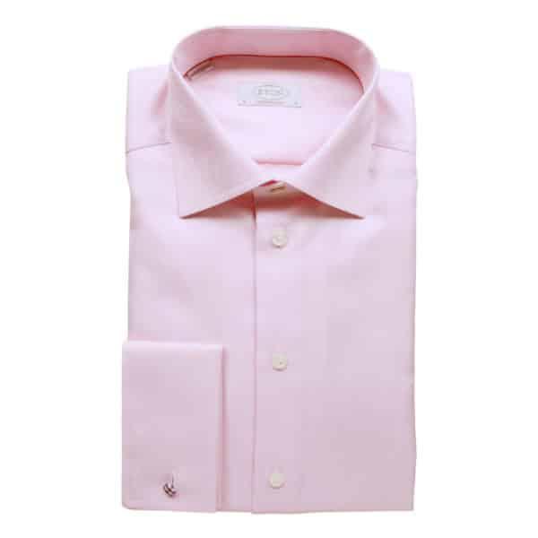 Eton Shirt structured textured diagonal twill pink French cuff