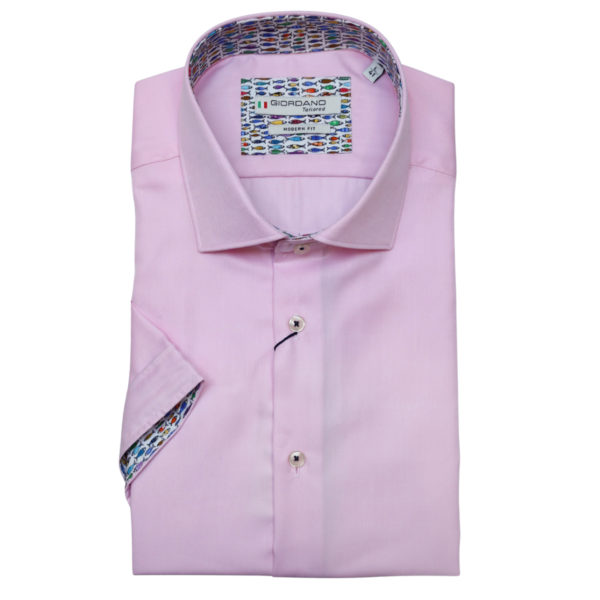 Giordano pink shirt fish pattern
