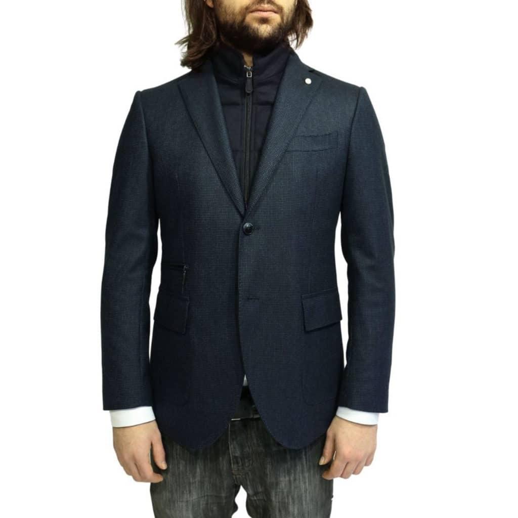 Luigi Bianchi Manotna Jacket small check navy insert
