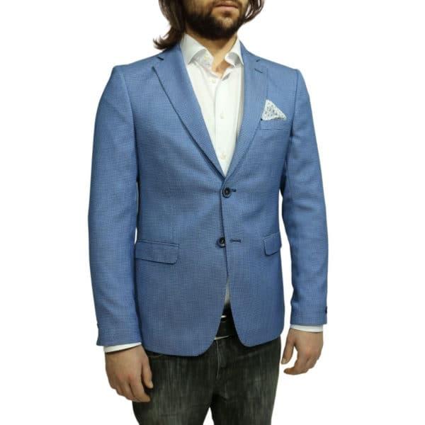 Roy Robson small check blue blazer