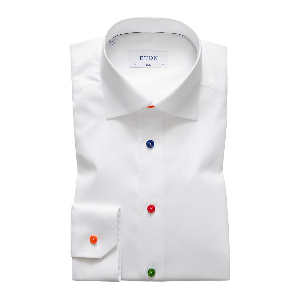 eton shirts contemporary fit white eton shirt with multicoloured buttons SLIM FIT