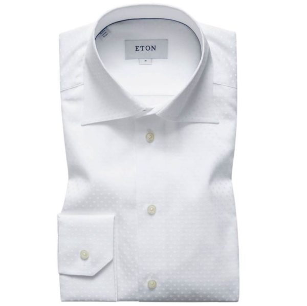 eton white polka dot weave contemporary fit shirt 01