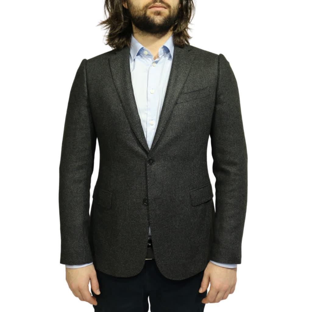 Armani collezioni blazer jacket textured charcoal front