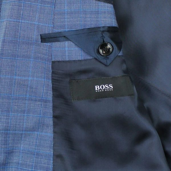 Boss blue suit label with check pattern main