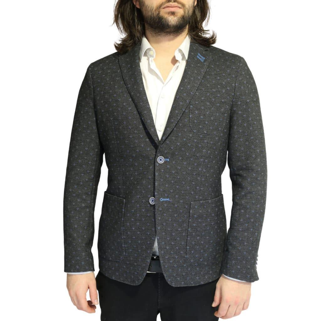 British Indigo Grey blazer blue polka dot pattern