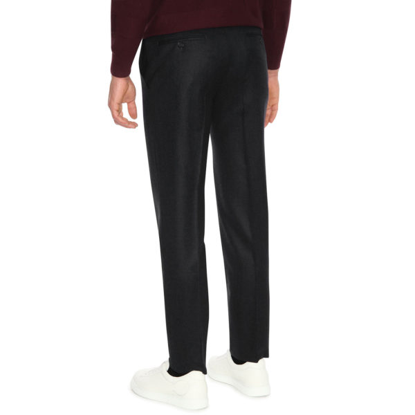 CANALI 1 FORMAL WOOL TROUSERS IN CHARCOAL grey back