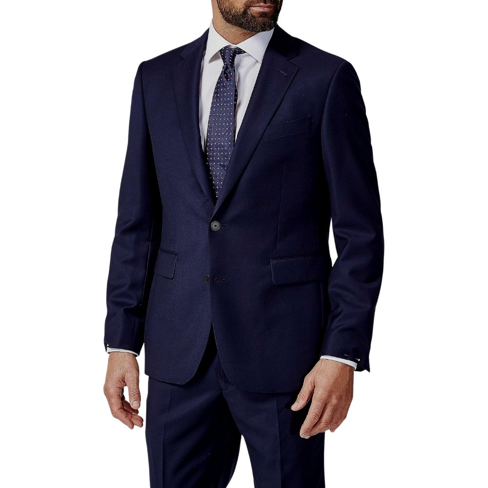 CANALI PURE WOOL FLAT WEAVE SUIT IN NAVY