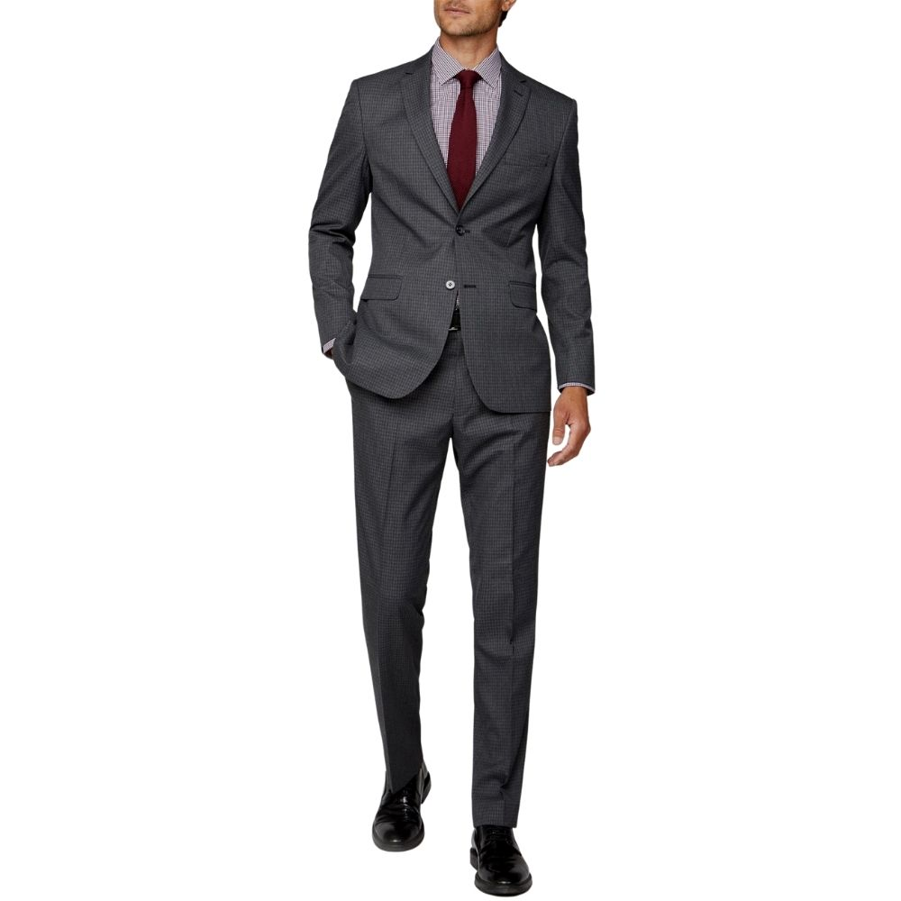 CANALI dice check charcoal suit back 1