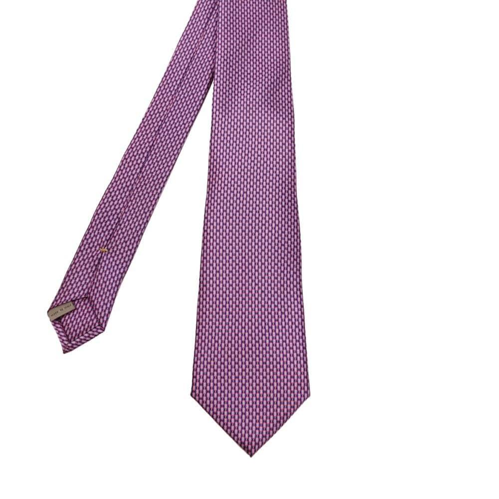 Canali Mini Pattern Tie Pink Blue 2
