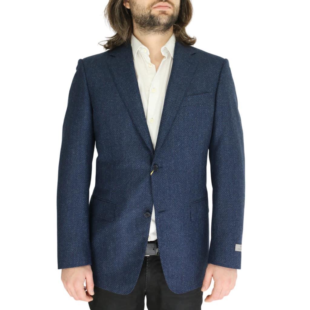 Canali navy waffle textured jacket