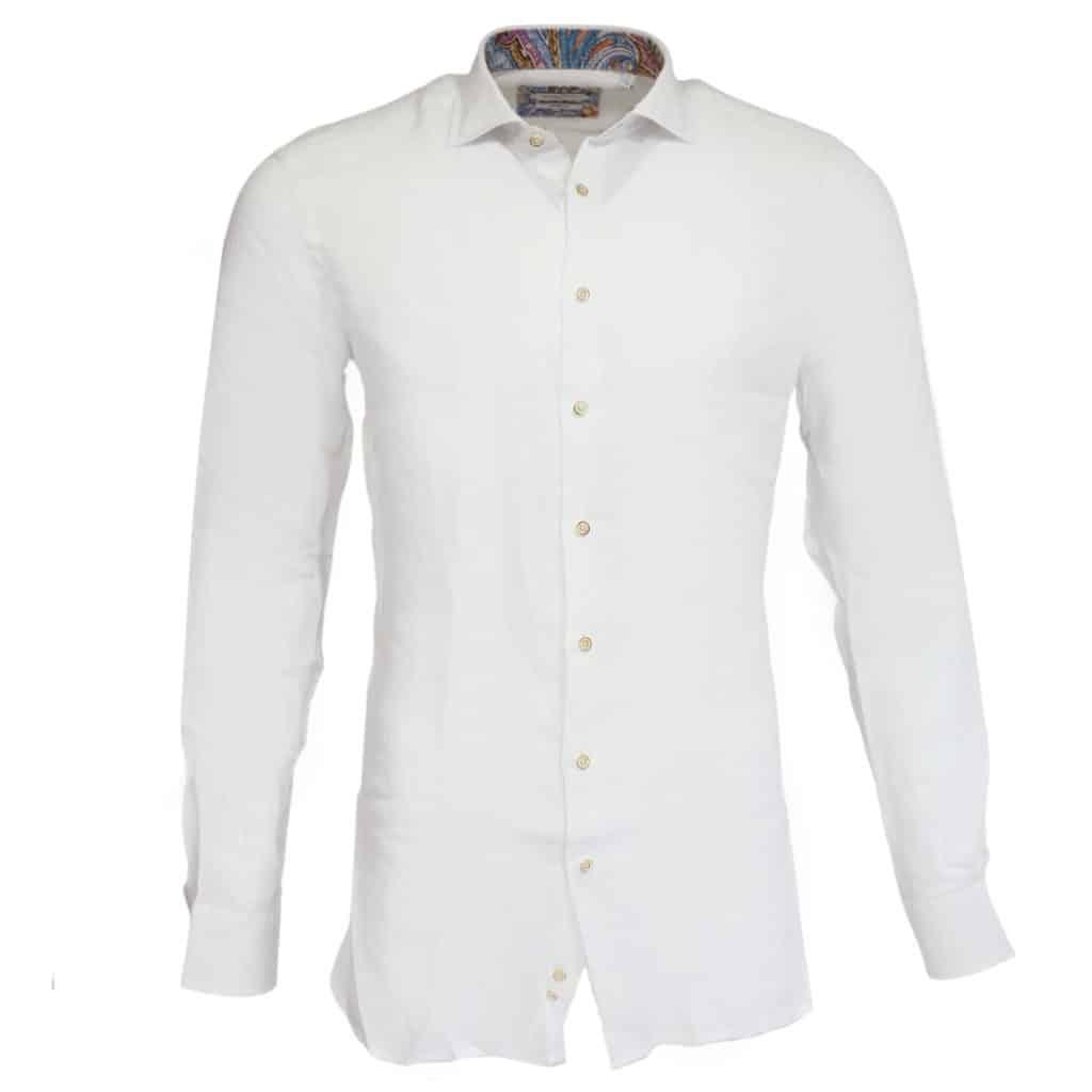 Giordano linen shirt white pattern collar