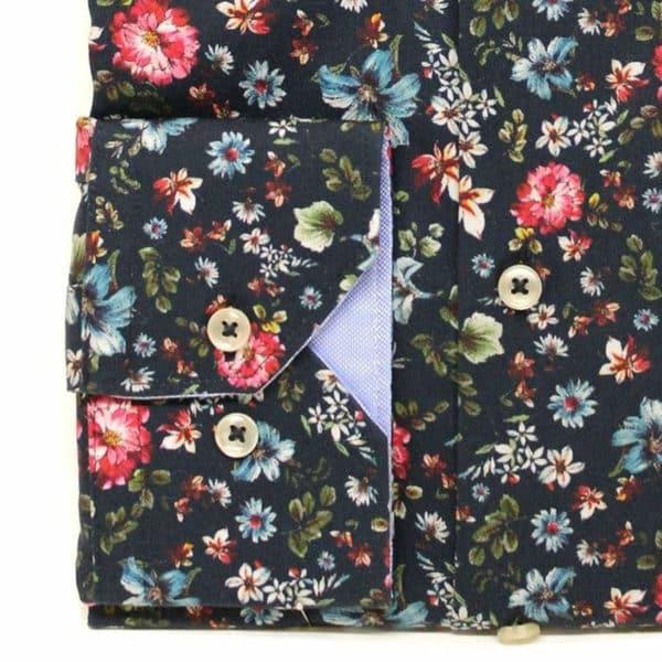 Giordano shirt flower navy red cuff