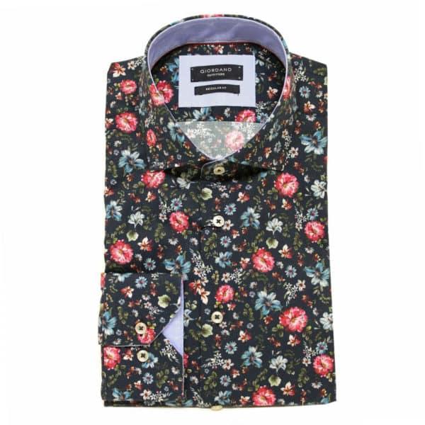 Giordano shirt flower navy red1