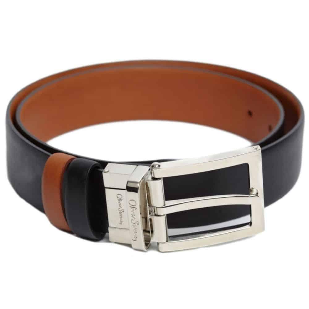 Oliver Sweeney Malmsey Leather Reversible Belt Black Tan