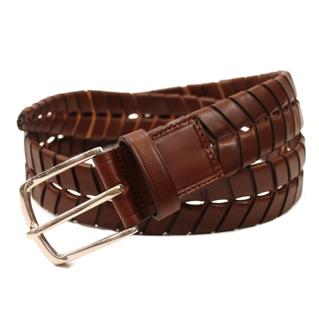 leather belt braid brown
