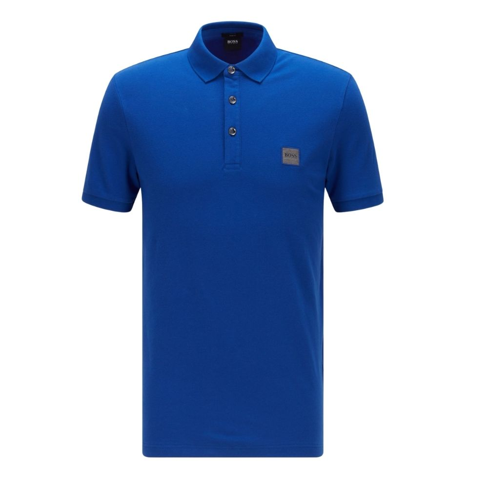 BOSS Slim fit Blue polo shirt in washed pique with logo patch Front