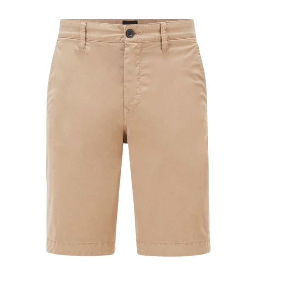 BOSS Tapered fit shorts in garment dyed stretch cotton twill in Medium Beige