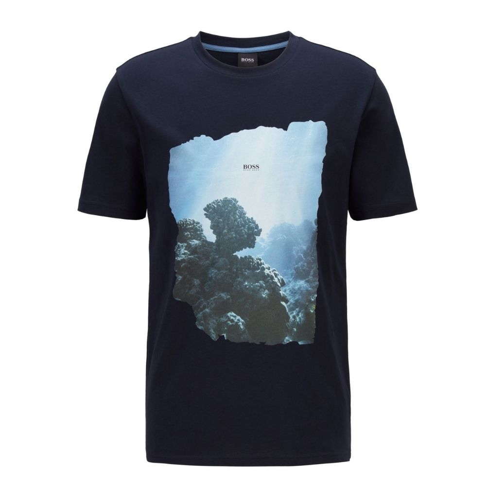 BOSS black Cotton T shirt with coastal graphic print front