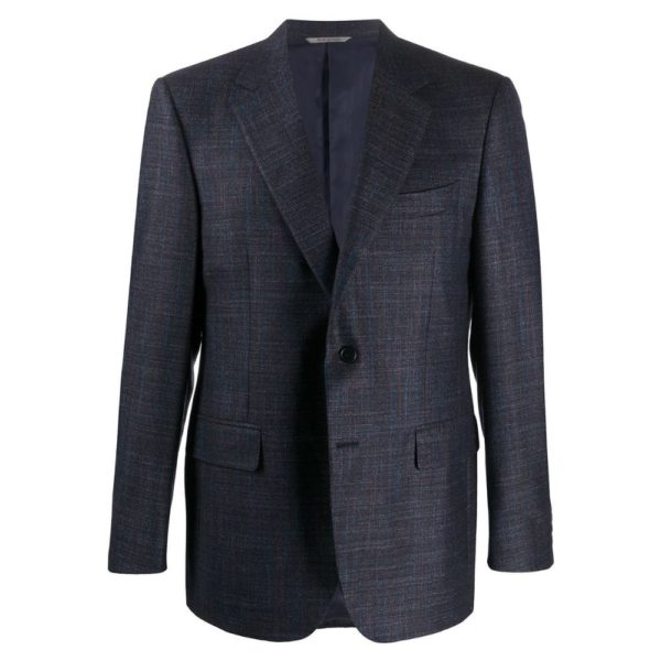 CANALI MICRO WEAVE JACKET IN NAVY