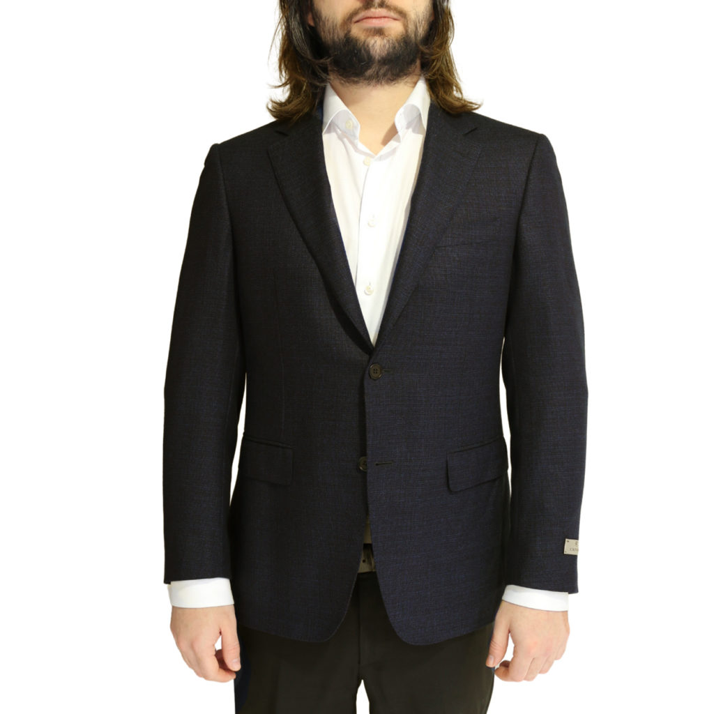 CANALI PURE WOOL MICRO FLECK JACKET IN NAVY BROWN