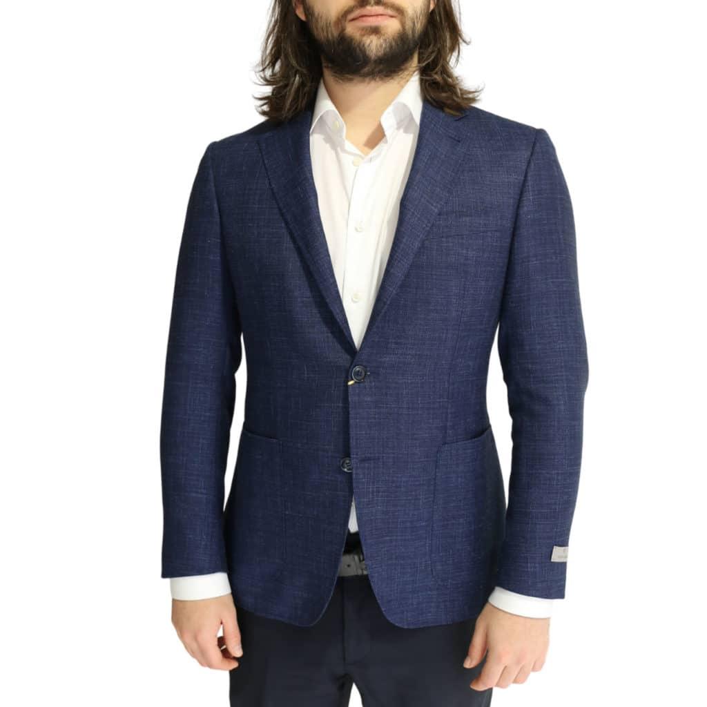 Canali fine textured blue jacket